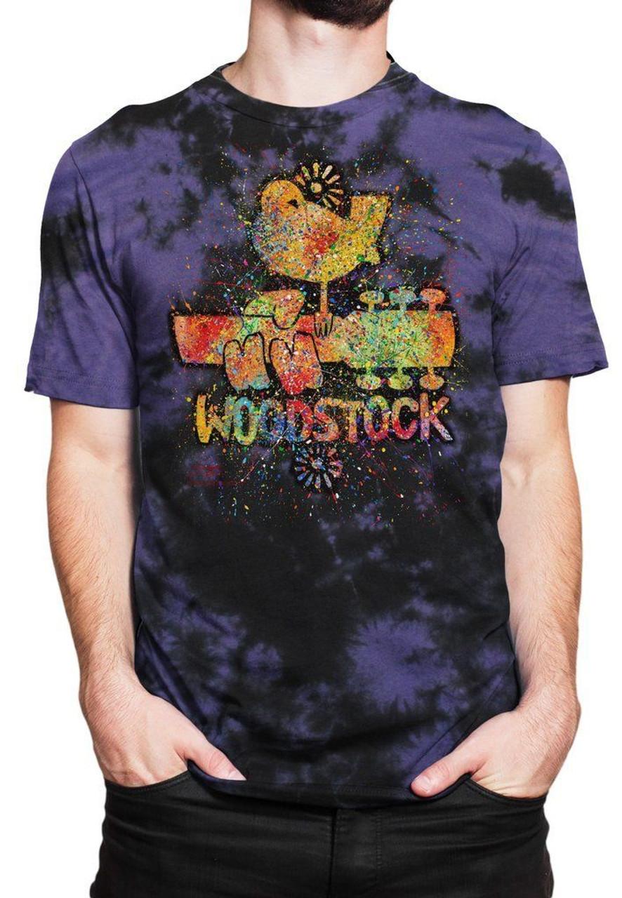 299248dad1b99 GDA Get Down Art Woodstock Poster Music Love Peace Mens Tee Shirt Tie Dye  Purple