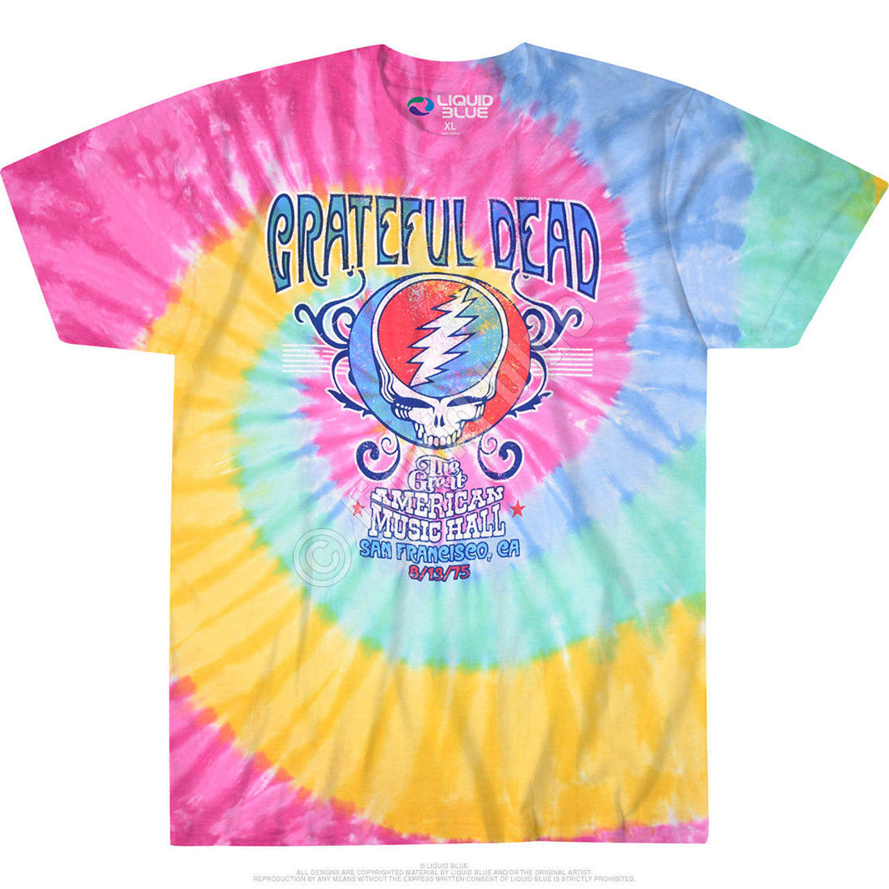 30521aae0942 The Grateful Dead American Music Hall Spiral Tie Dye Psychedelic Tee Shirt  11333 - Fearless Apparel