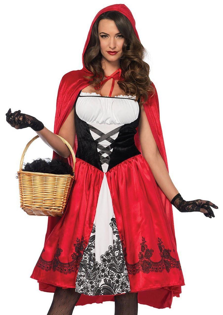 Gothic Red Riding Hood Ladies Fancy Dress Wonderland Leg Avenue Womens Costume