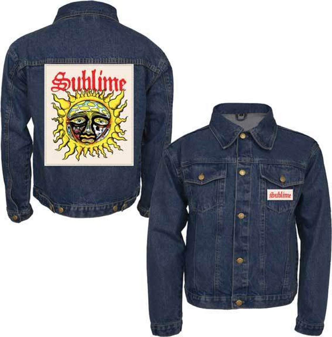 acaf3a459 Sublime Sun Patch Music Rock Band Ska Punk Adult Mens Denim Jacket SI2465