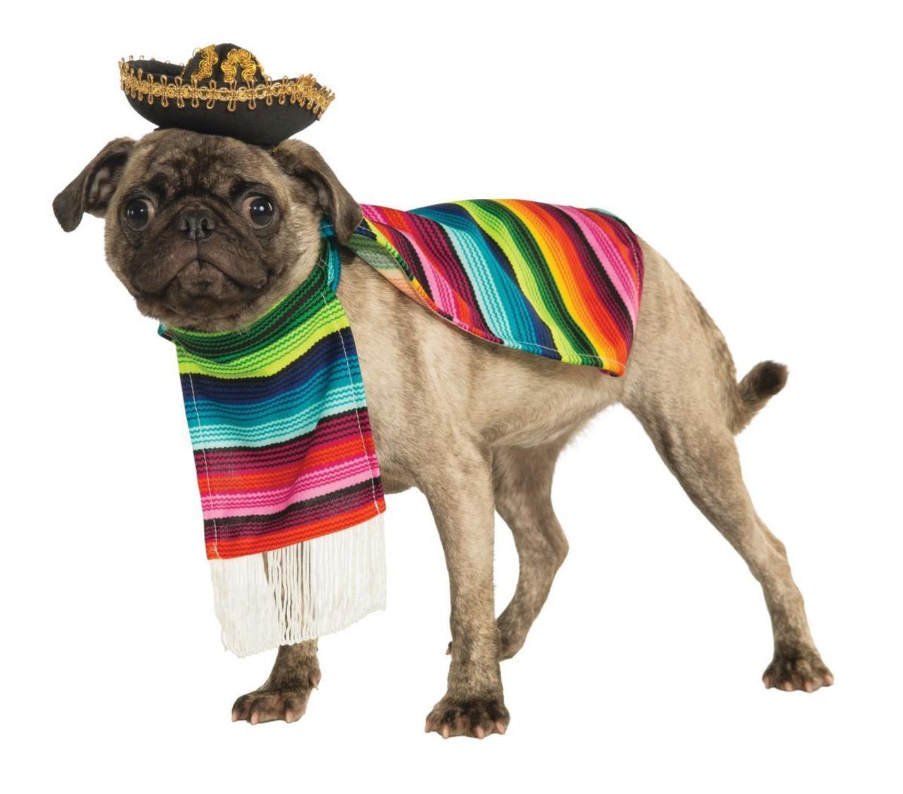 Rubies Mexican Serape Sombrero Poncho Dogs Cats Pets Halloween Costume 887817