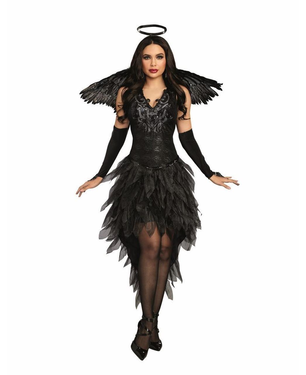 dbea75f5749f Dreamgirl Angel of Darkness Sexy Goth Dress Adult Womens Halloween Costume  11180