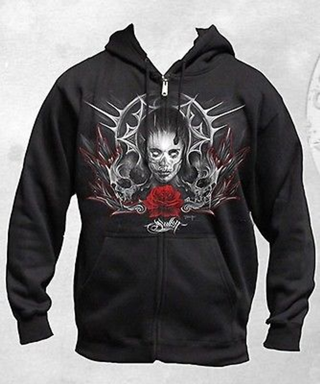 SULLEN CLOTHING BOBBERS /& CHOPPERS SKULL  ZIPPERED HOODIE TATTOO INK SKULL