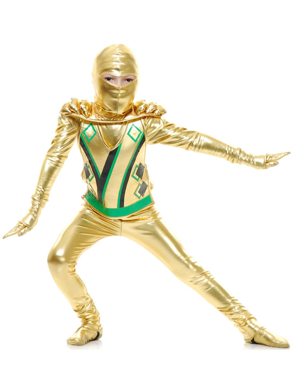 Charades Golden Ninja Warrior Series III Kids Childrens Halloween Costume  84403