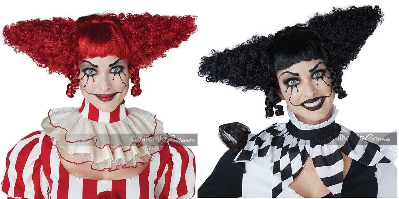 california costumes creepy clown red black halloween costume wig