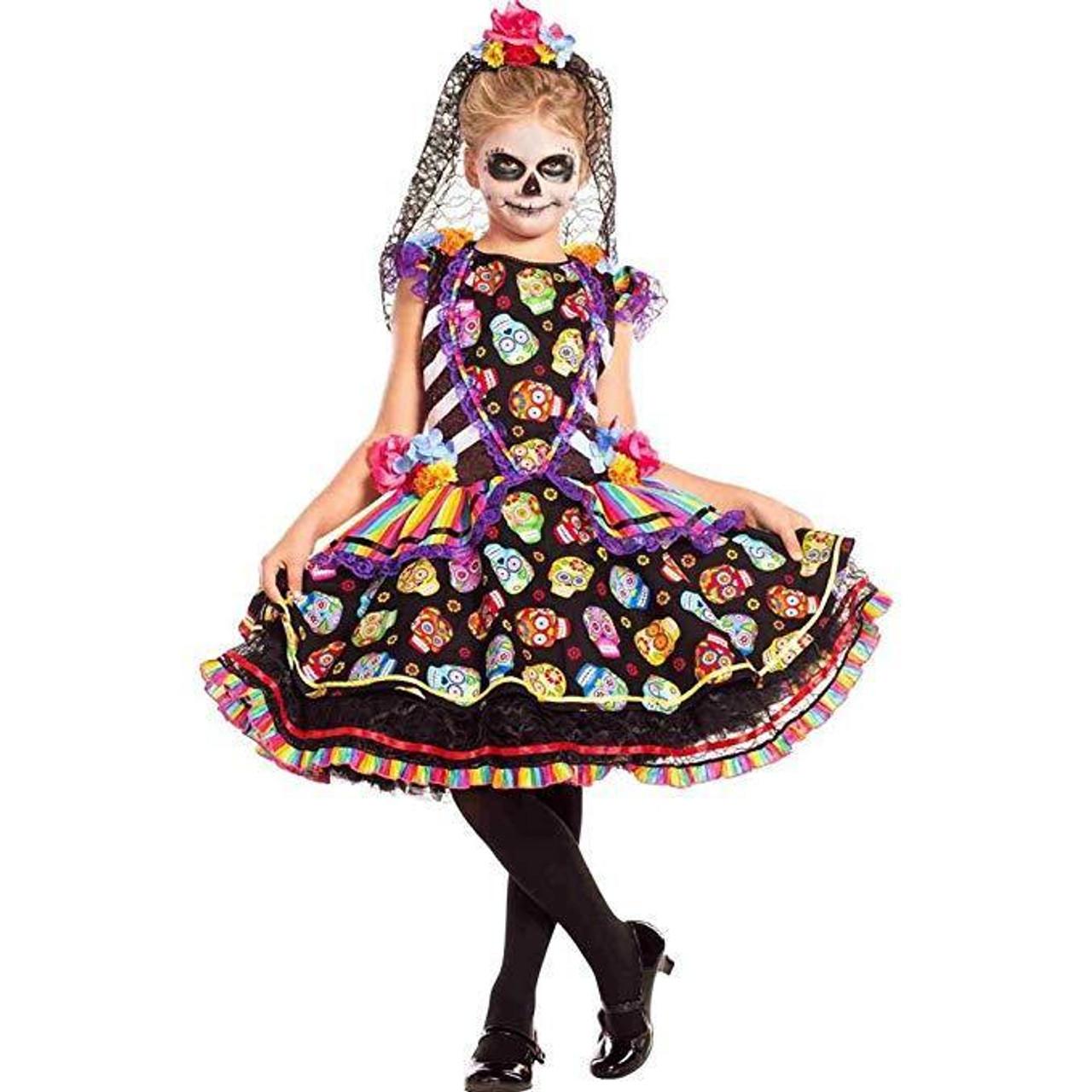 2d2021853dd Party King Sugar Skull Senorita Day of the Dead Childs Halloween Costume  PK769C