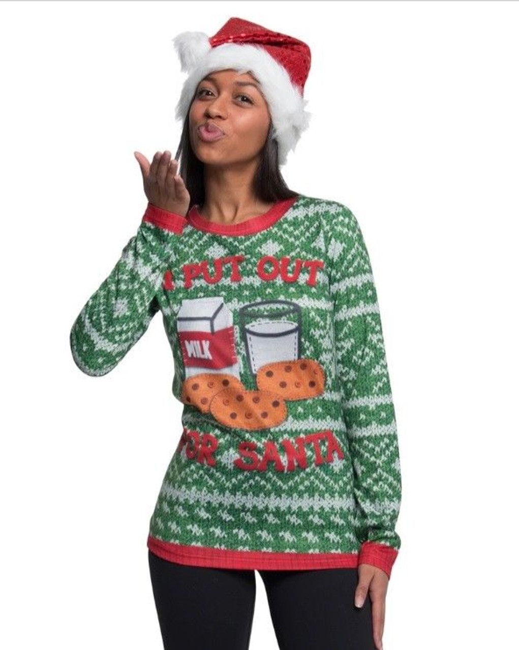 Faux Real I Put Out For Santa Sublimated Christmas Sweater Shirt