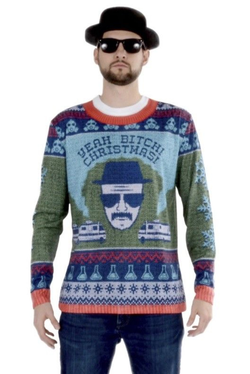 Blue And White Christmas Sweater.Faux Real Breaking Bad Walter White Ugly Christmas Sweater Shirt Costume F153168