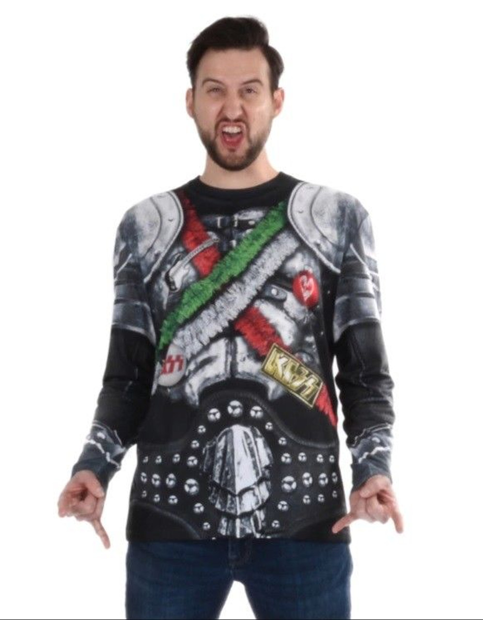 b68ba3df341d Faux Real Kiss The Demon Ugly Xmas Christmas Sweater Shirt Costume F152423  - Fearless Apparel