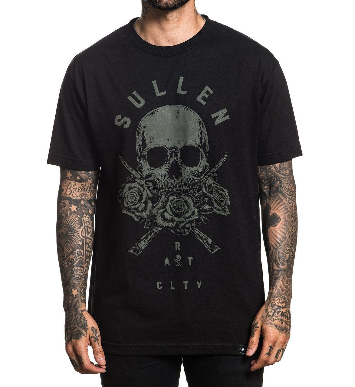 Sullen Art Collective Clothing 3 Roses Skull Urban Ink Tattooed T ...