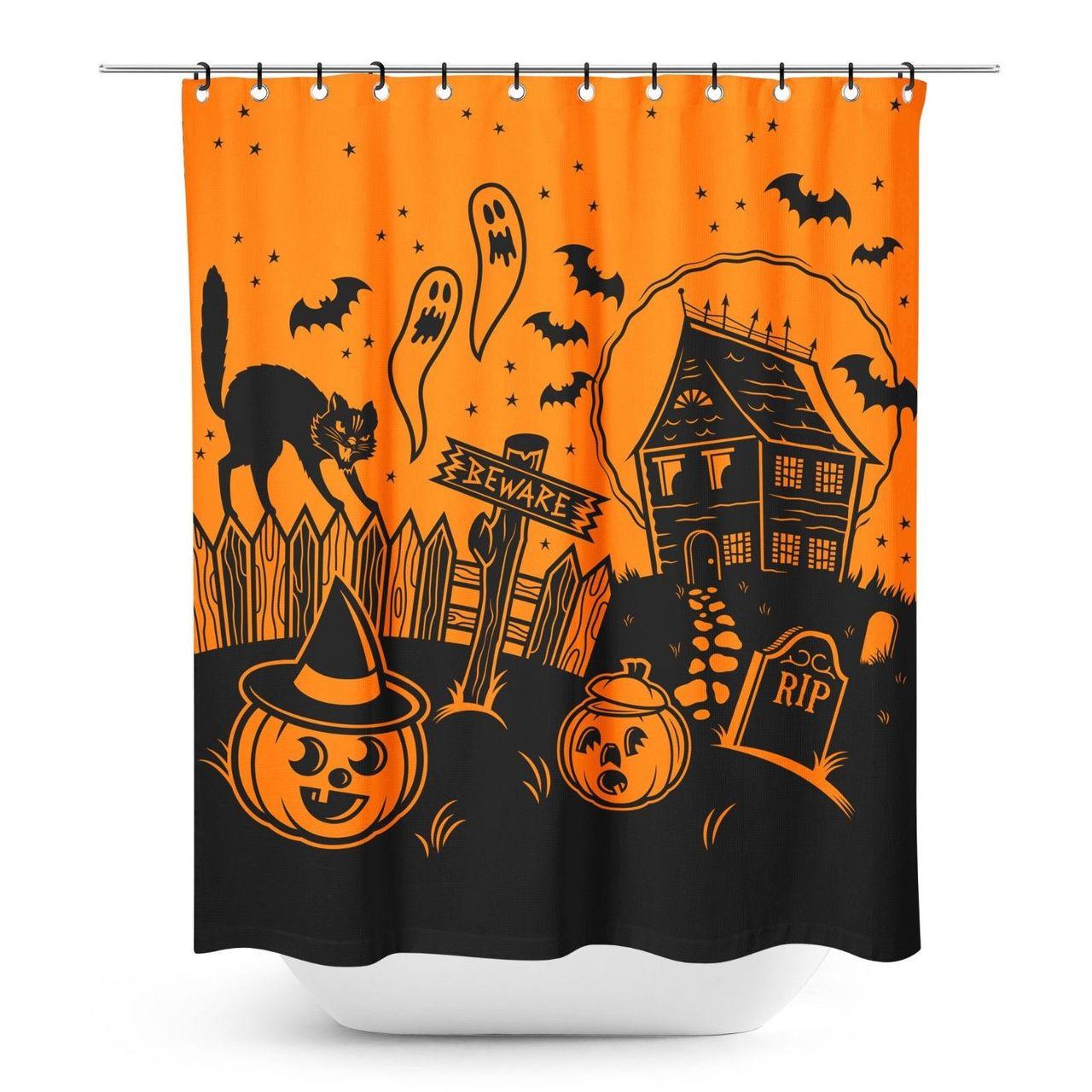 Sourpuss Haunted House Halloween Spooky Gothic Punk Horror Shower Curtain SPSC26