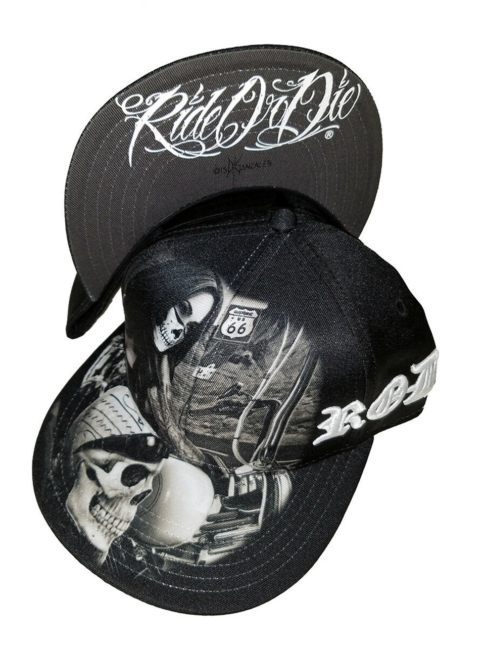DGA David Gonzales Art Ride or Die Highway to Hell Motorcycle Skull Snapback  Hat - Fearless Apparel 7c52036fbf08