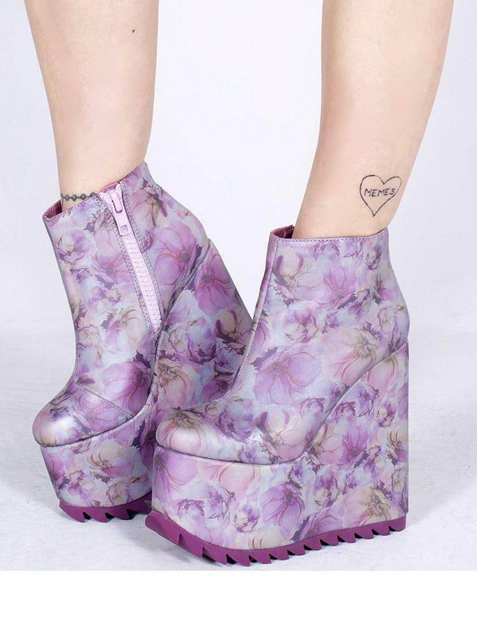 654304219f5c YRU Dimension Reflective Lavender Floral Flowers Goth Rave Platforms Shoes  Heels - Fearless Apparel