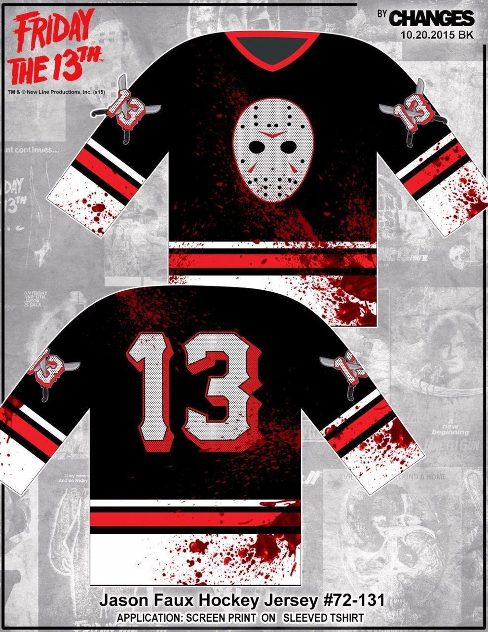 Friday the 13th Jason Faux Hockey Jersey Movie Mens Long Sleeve Shirt  72-131 - Fearless Apparel bafa5e7638c