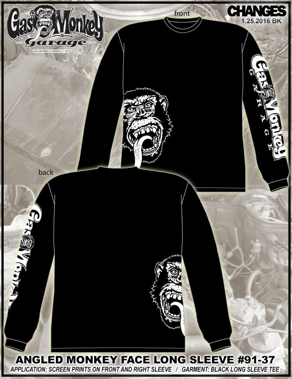Gas Monkey Garage Angled Monkey Face Fast N Loud Tv Show Dallas L S Shirt 91 37