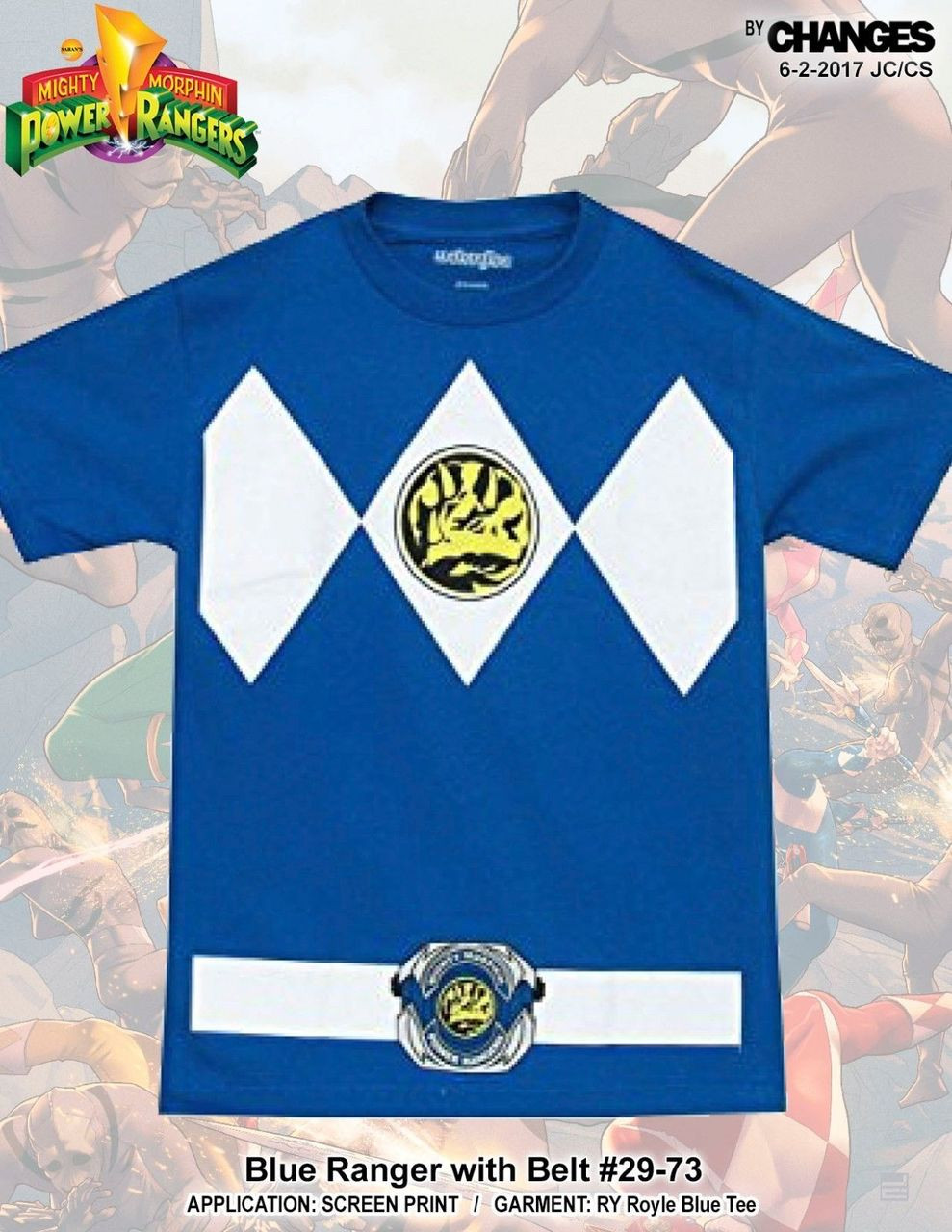 9ca0d1650ab Mighty Morphin Power Rangers Blue Ranger Superhero Halloween Costume T Shirt