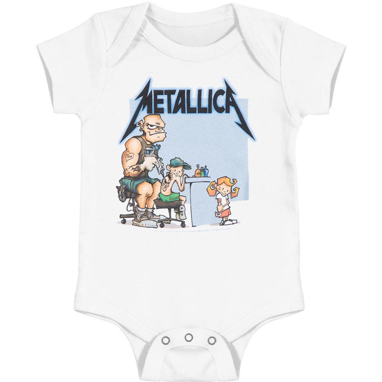 2fd219a7f Metallica Inked Tattooed Metal Bodysuit One Piece Baby Infant Romper  50040438 - Fearless Apparel