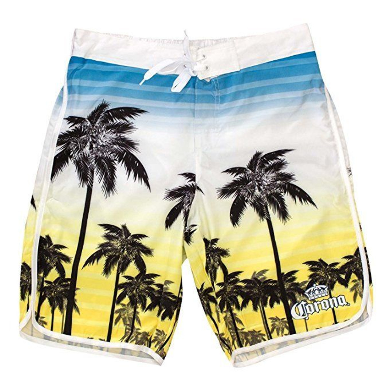 b995c3f227 Corona Beer Sunset Palm Tree Stripe Summer Swim Beach Mens Board Shorts  CMBS8 - Fearless Apparel