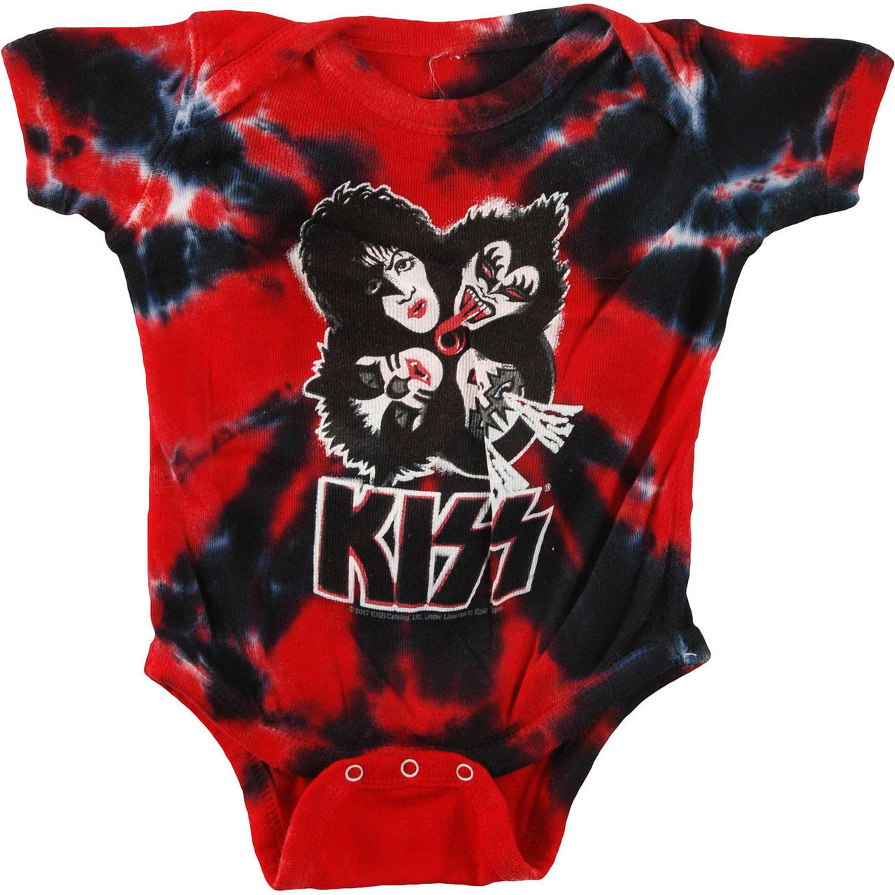 29d34120bd3731 Kiss Burst Baby One Piece Romper Toddler 6-8 Months Red Black Tie Dye  Bodysuit - Fearless Apparel
