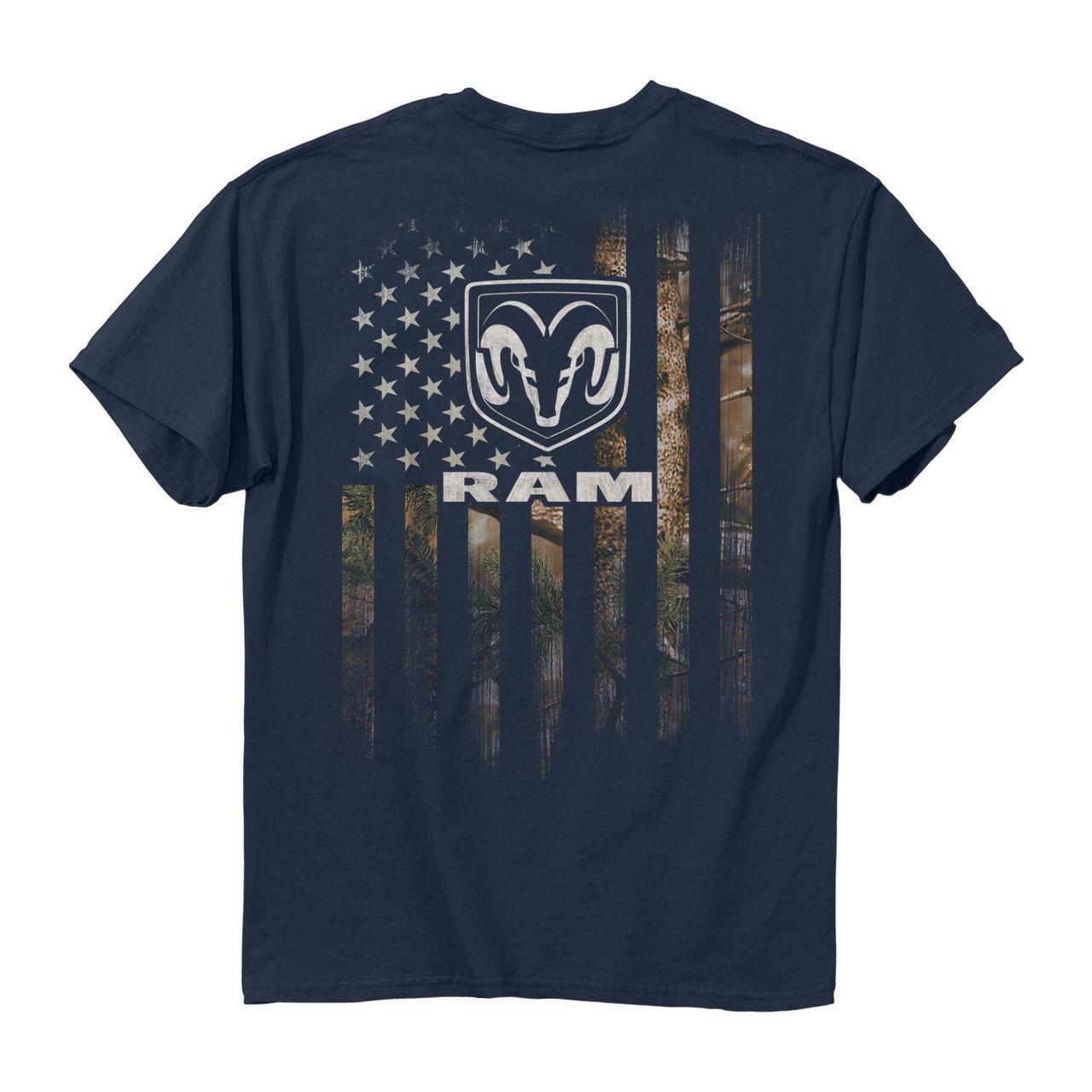 Buck Wear Dodge Ram Trucks Full Camouflage American Flag Men S Tee Shirt Navy Fearless Apparel