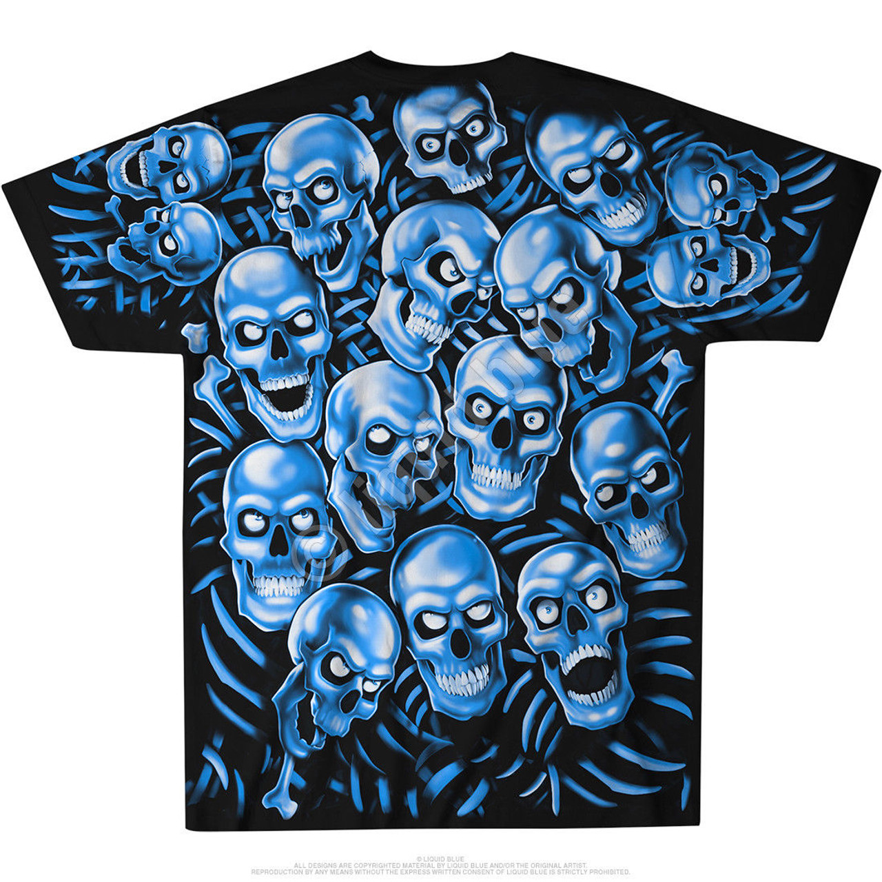Juicy J Skull Pile Blue Skeletons Demon Ghoul Scary Punk Goth Tee Shirt  31736 - Fearless Apparel cf8e0bc8f
