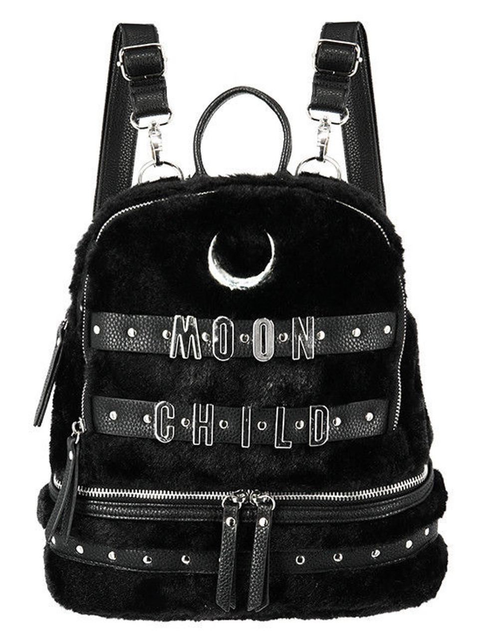 b695e7a87c83 Restyle Crescent Moon Child Faux Furry Gothic Punk Occult School Bag  Backpack - Fearless Apparel