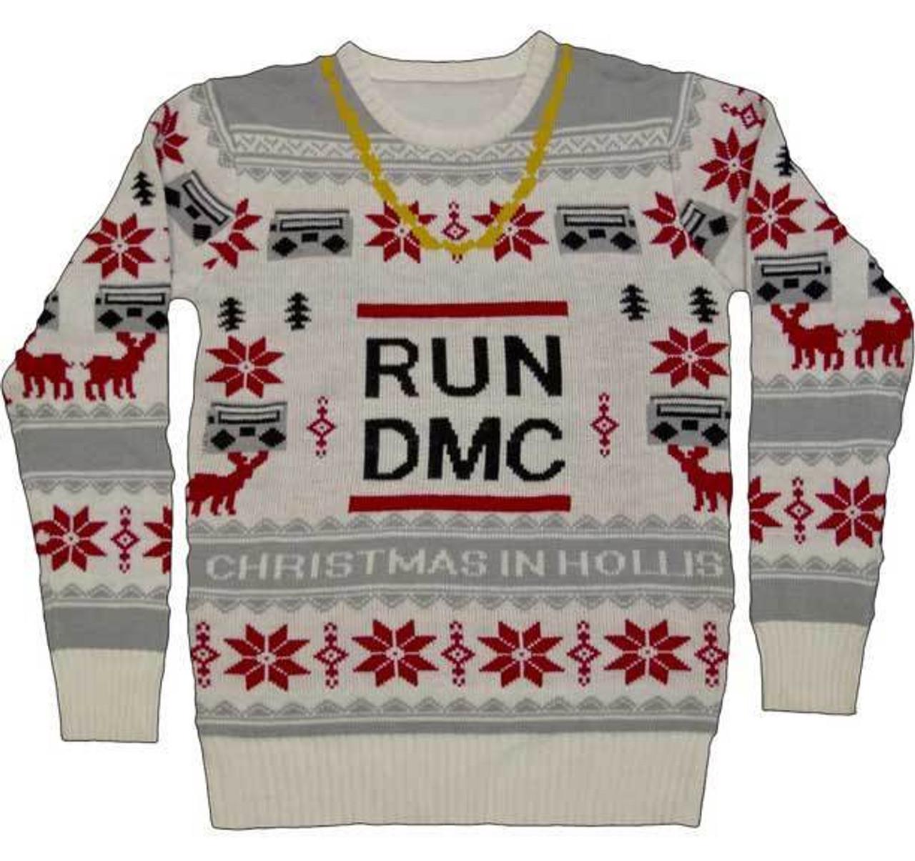 Run Dmc Christmas.Run Dmc Gold Chain Holiday Xmas Adult Mens Ugly Christmas Sweater 35191282