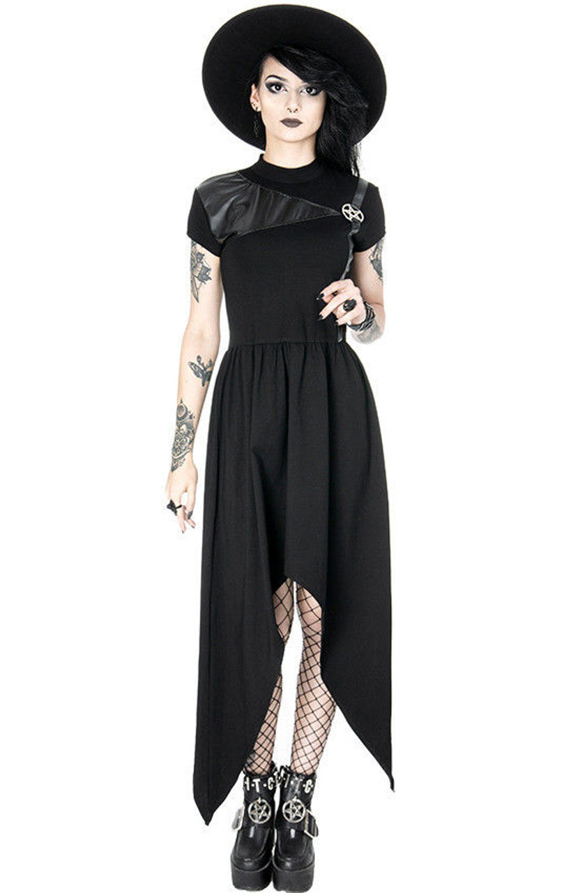 Restyle Gothic Punk Emo Occult Witch Pentagram Witch Asymmetrical Tunic  Dress - Fearless Apparel 93ad39f0c877