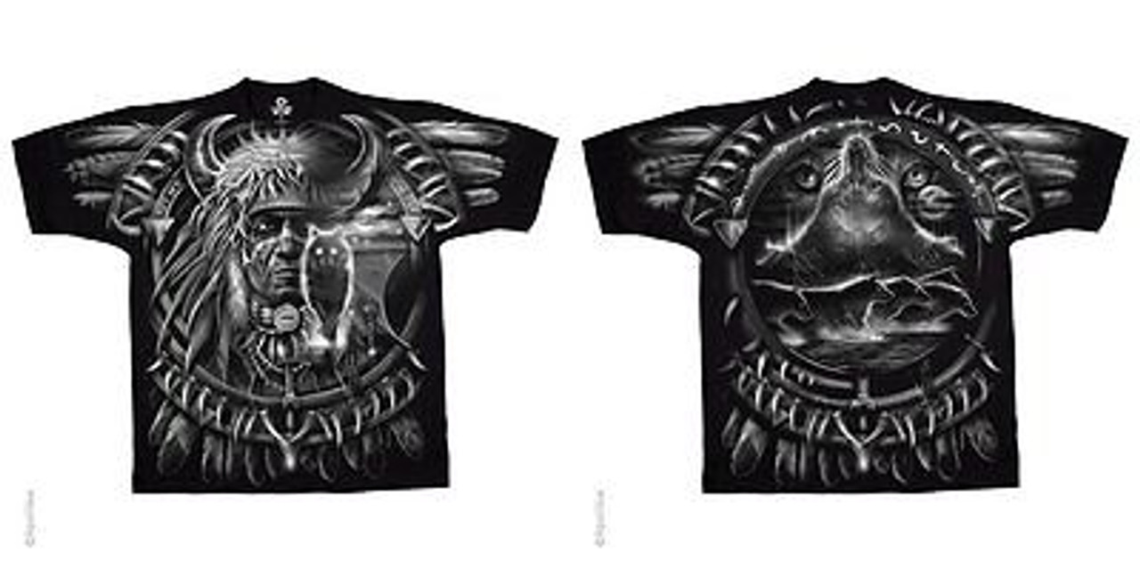 9366bf3b2c076c Wolf Dreamcatcher Native American Indian Wild Animal Fantasy Mens T Shirt  M-6Xl