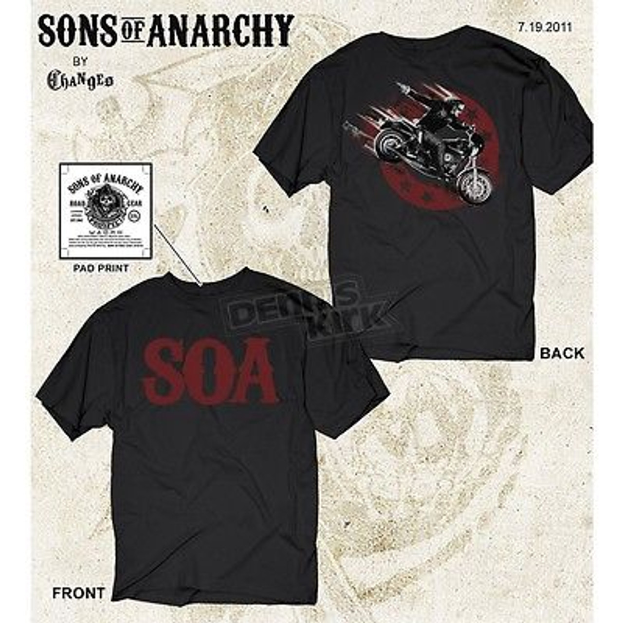 Sons Of Anarchy SOA Reaper Biker Logo Officially Licensed Authentic Adult T-Shir