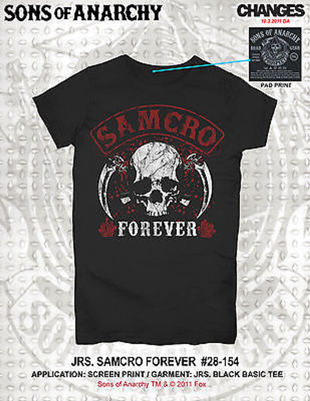 Soa Sons Of Anarchy Samcro Forever Sickle Skull Reaper Goth Junior T