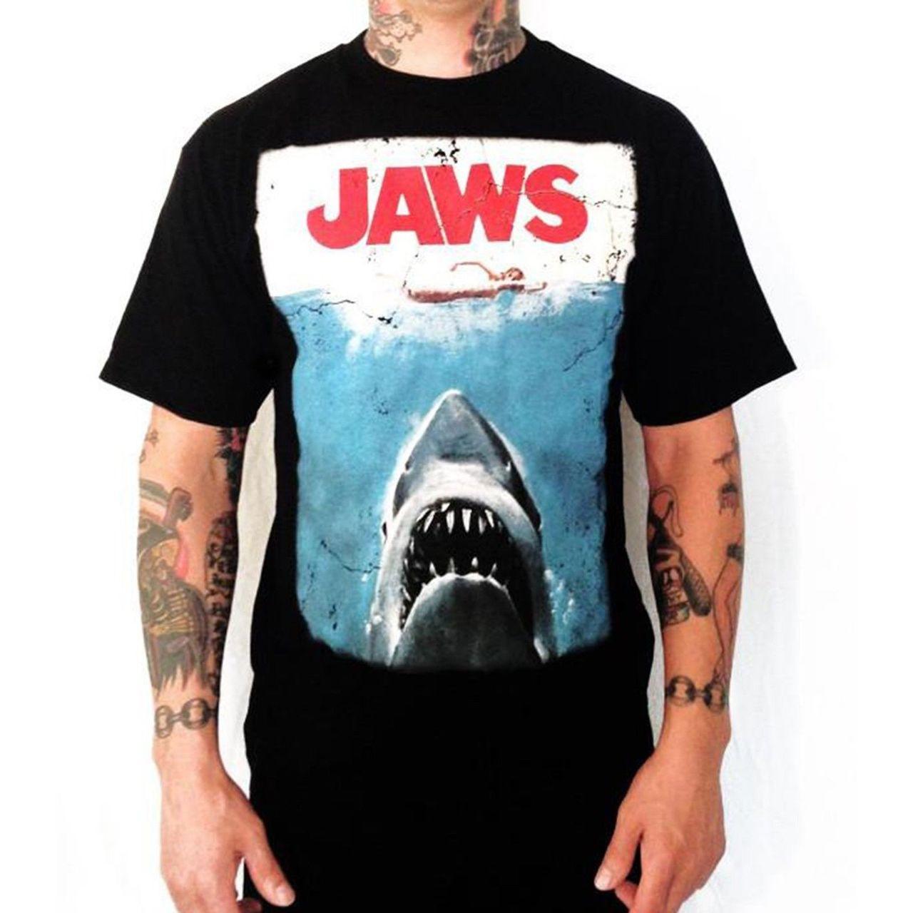 Officiel Jaws Poster T Shirt Requin Rétro Classique Spielberg Movie S M L XL XXL