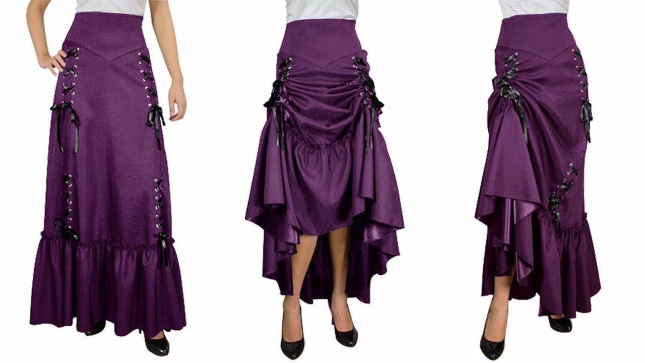 1244f4689 Three Way Lace Up Renaissance Skirt Purple Gothic Victorian Steampunk Punk