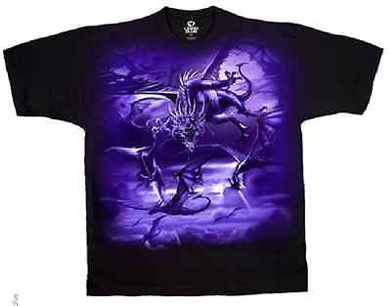 fc397be9748936 Dark Fantasy The Swarm Dragons Purple Sky Dark Force Evil Black Shirt L-2Xl
