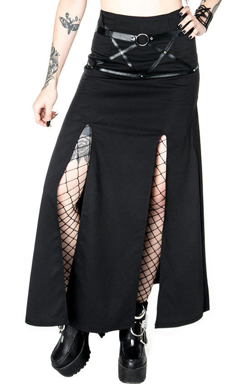 32ff61545ee Restyle Villain Harness Gothic Occult Punk Steampunk Emo Side Slit Maxi  Skirt - Fearless Apparel