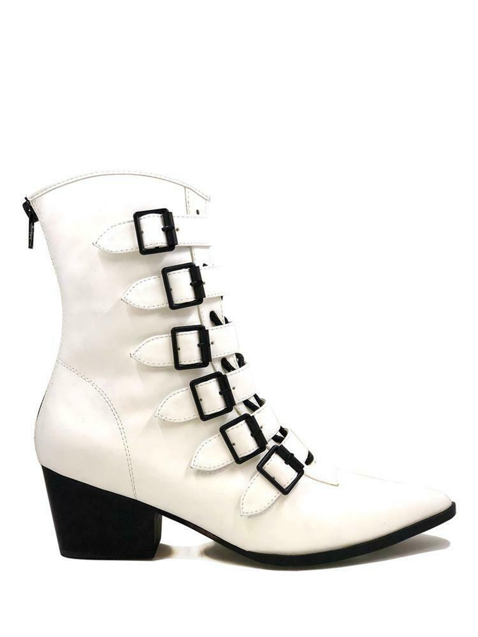 YRU Strange Cvlt Cult Coven Witch Buckles Gothic Punk White Heels Ankle Boots