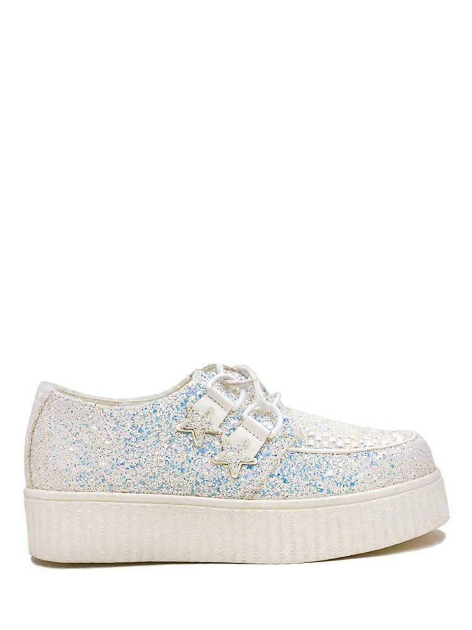 397cf7121dd7 YRU Strange Cvlt Cult Krypt Kreeper Creeper White Glitter Platforms Sneakers  - Fearless Apparel