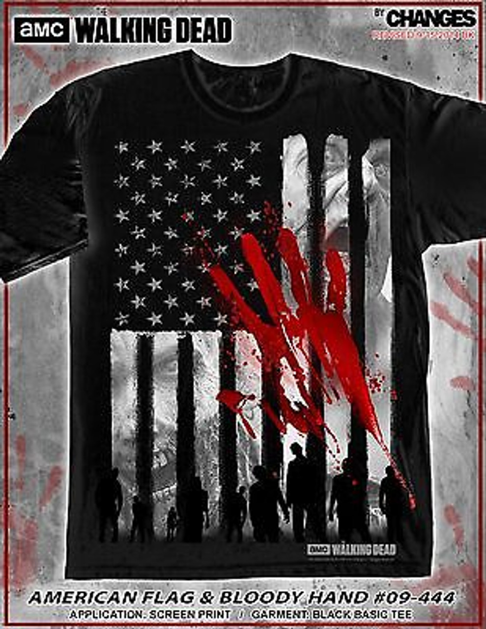 Men/'s AMC The Walking Dead Warning Infected Sublimated T-Shirt