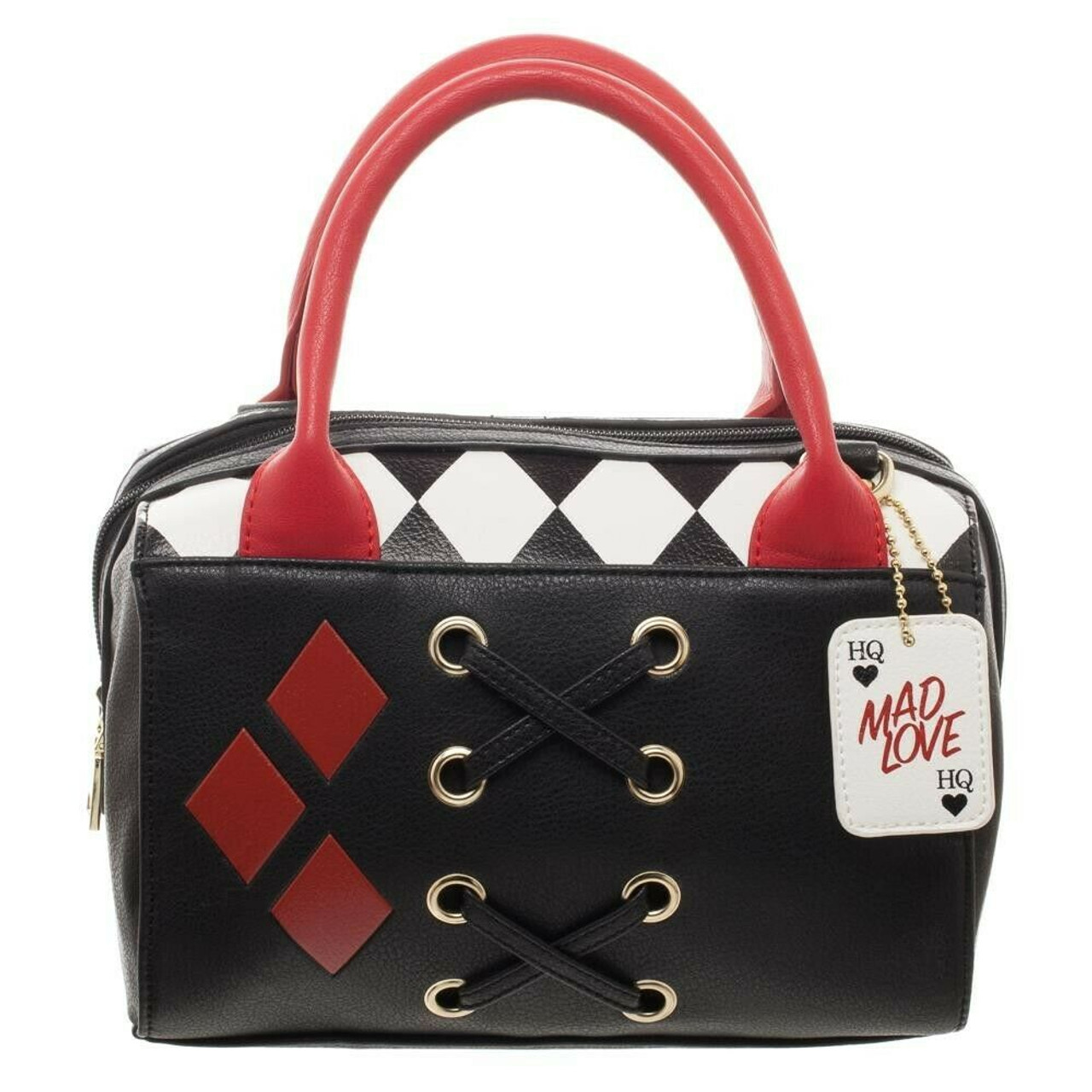 dbd2db819f Bioworld DC Comics Harley Quinn Dottie Mad Love Mini Satchel Handbag  LB5NCXBTM - Fearless Apparel
