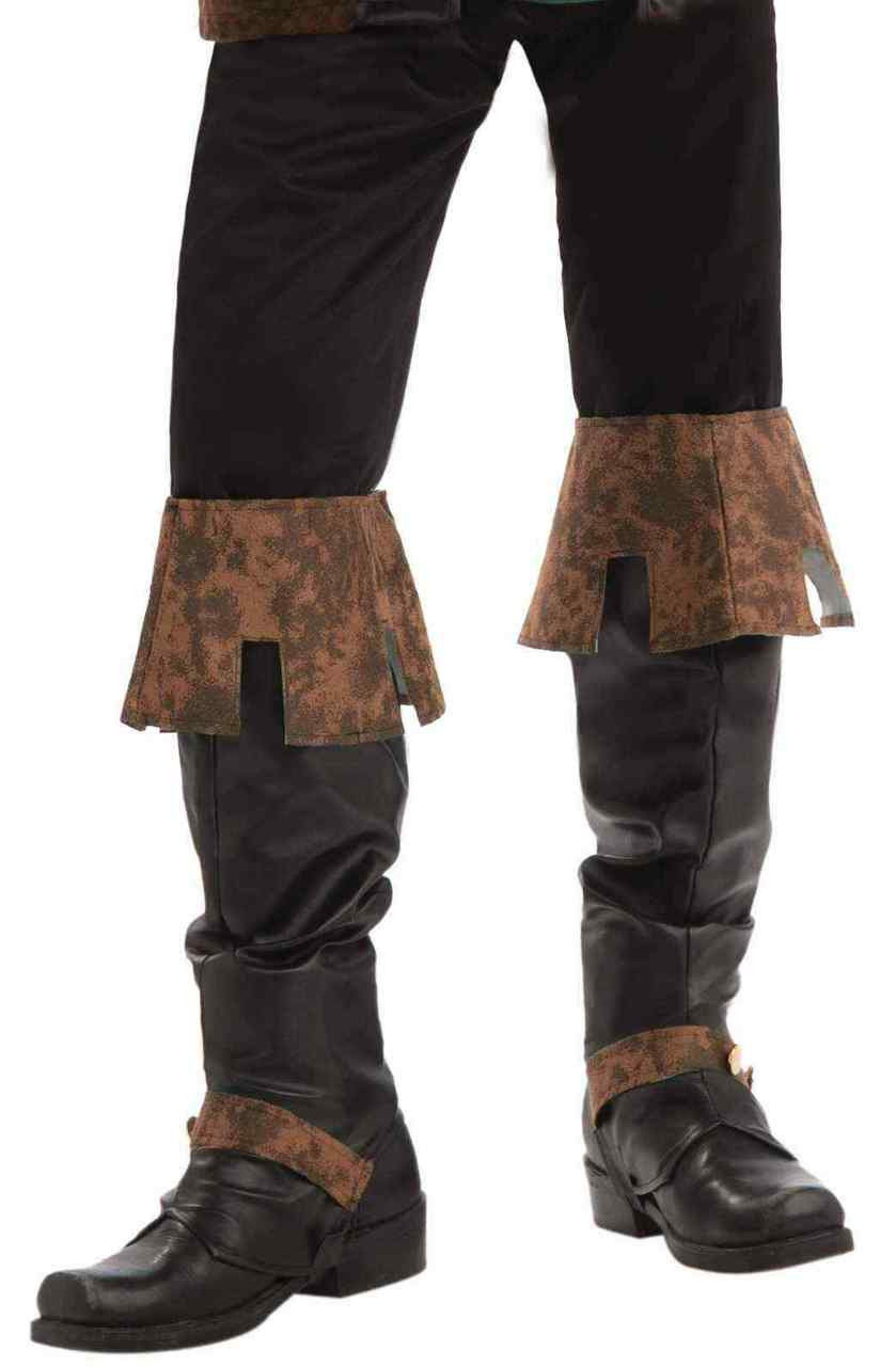 Steampunk Suede Spats Shoe Covers Boot Tops Brown Costume Accessory Adult Mens