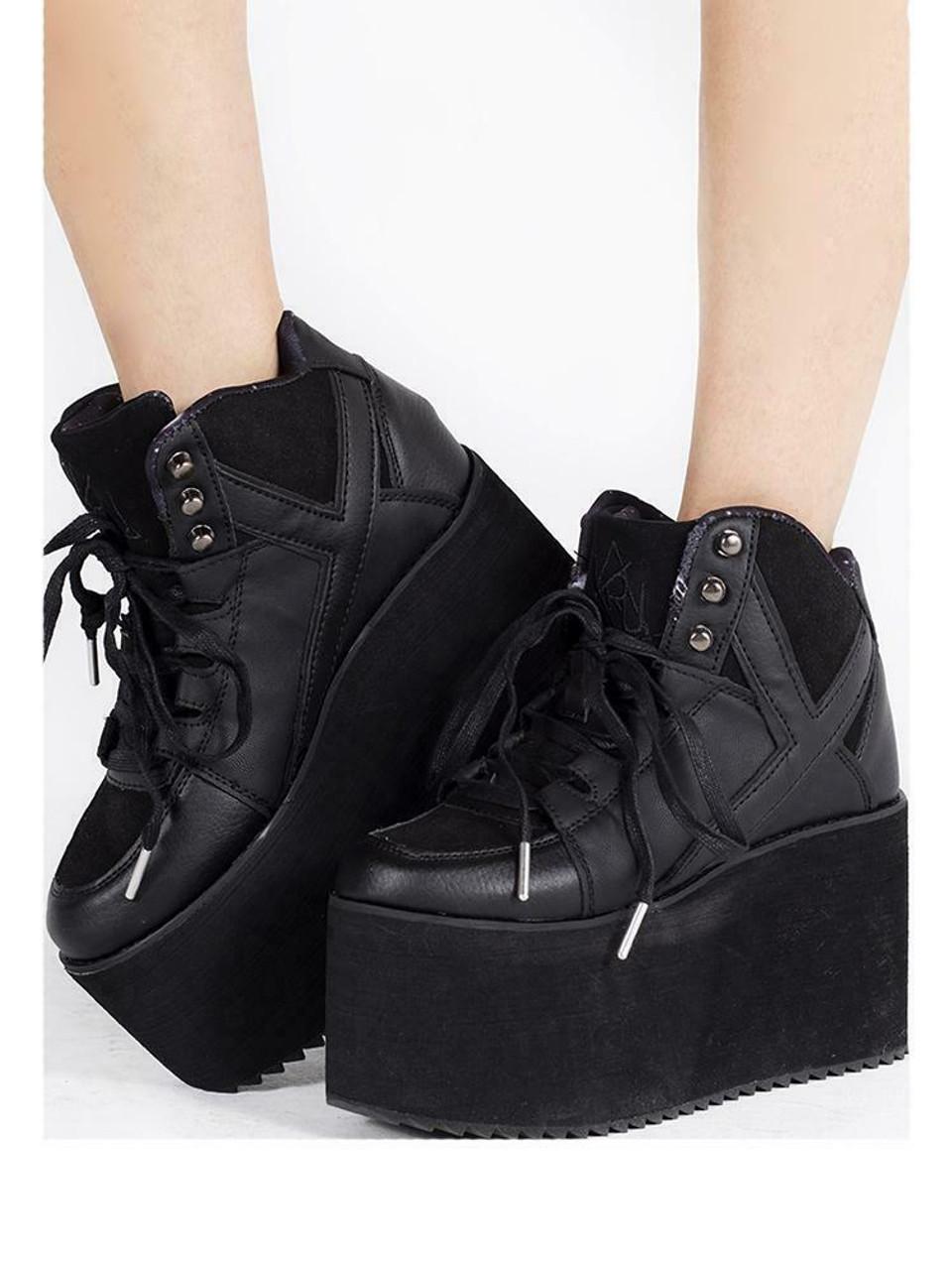 YRU Qozmo Hi Kawaii Punk Emo Rave Gothic Black Platforms Sneakers Heels Shoes