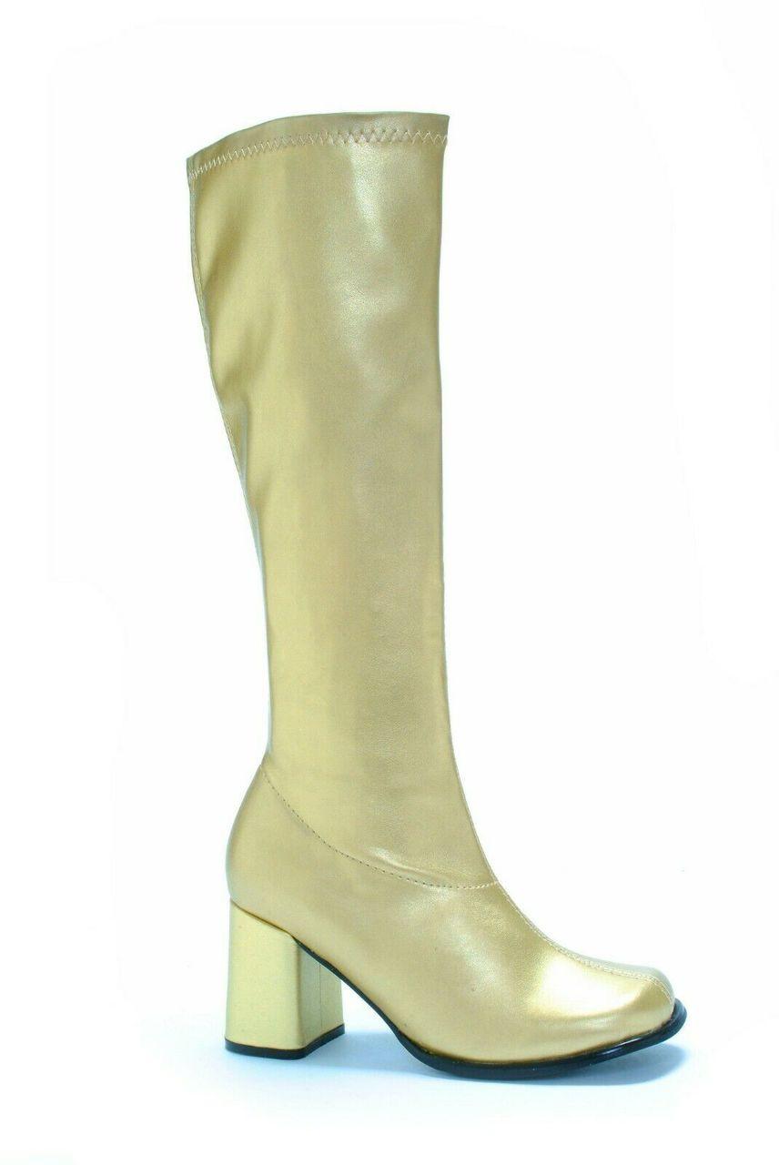 44c75468e678e Ellie Shoes GoGo Dancer Club Disco Punk 70s 60s Gold Zip Up Costume Heels  Boots