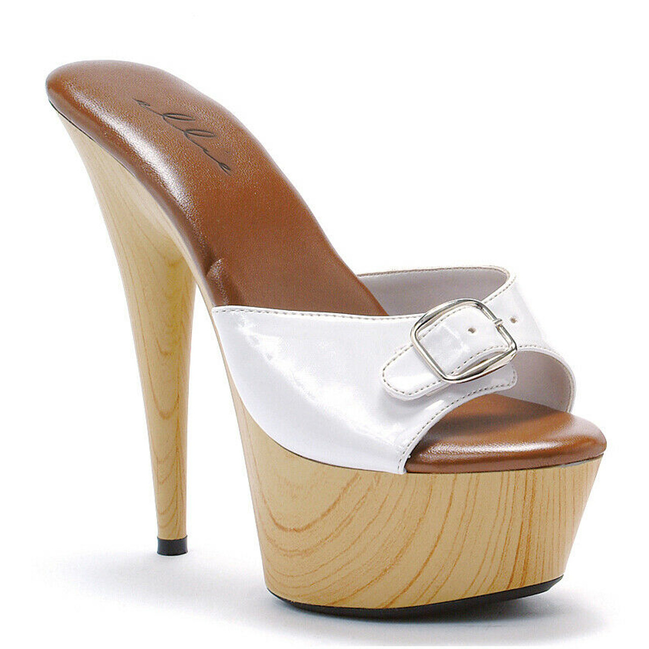 a5e8a6b808355 Ellie Shoes Mule Wooden Buckles White Costume Platforms Heels Shoes  609-BARBARA