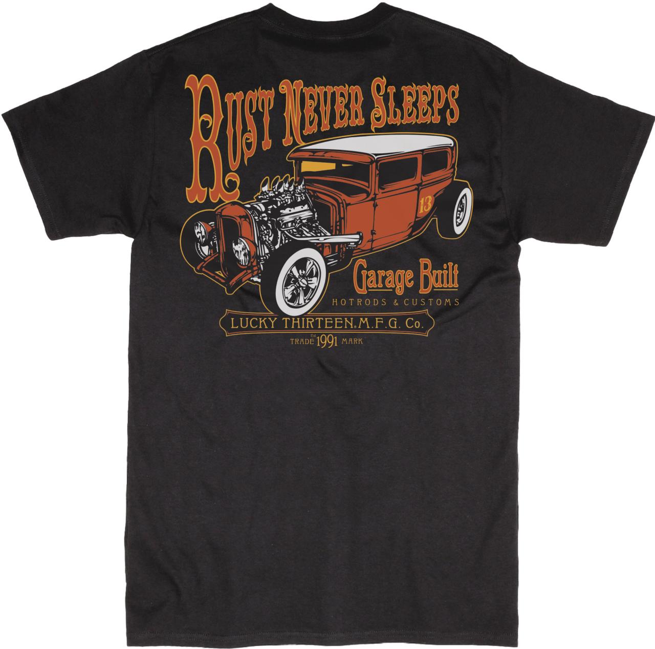 Lucky 13 Rust Never Sleeps Hot Rod Cars Rockabilly Tattoos T Shirt ...