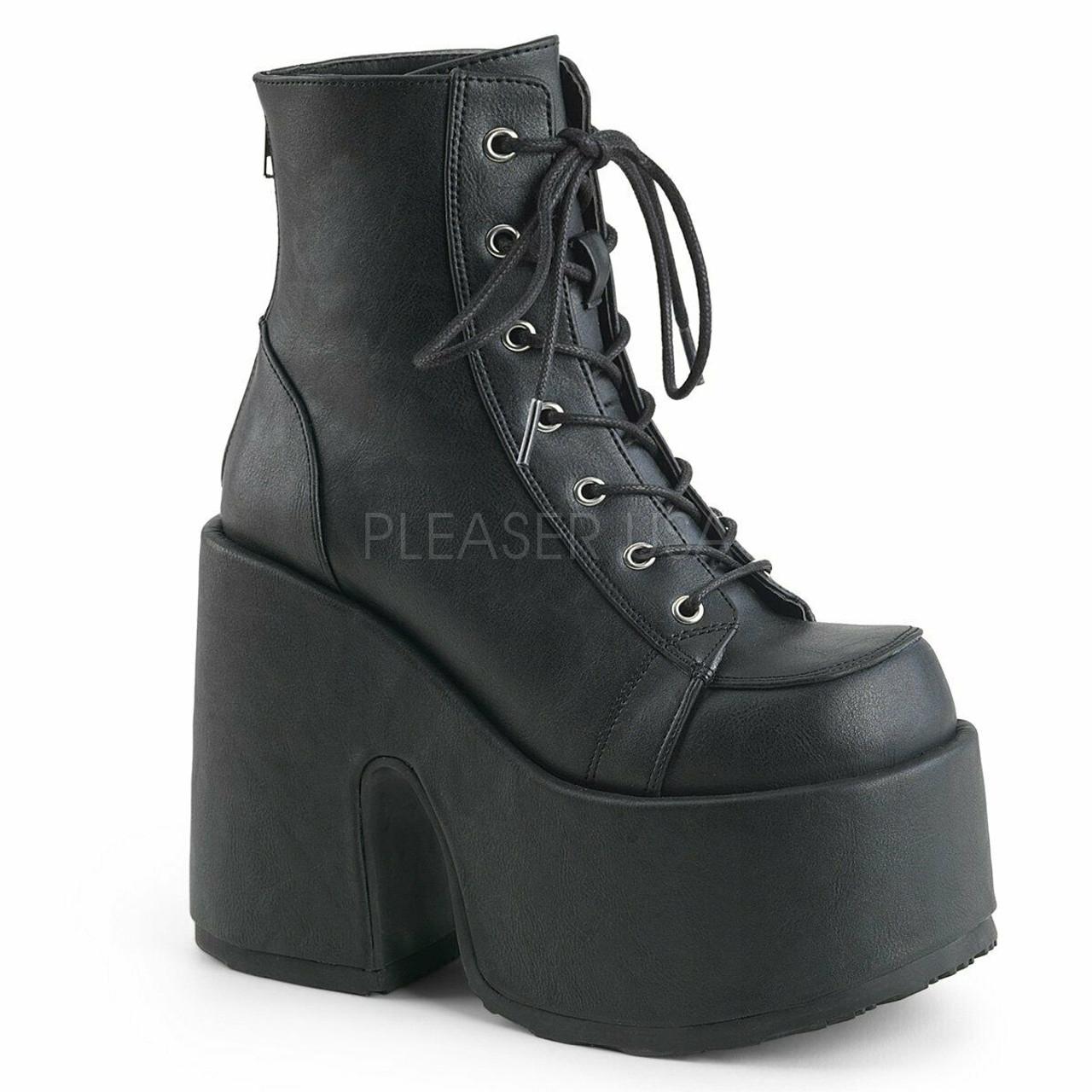 Black punk rock emo goth combat zip heel boot shoe