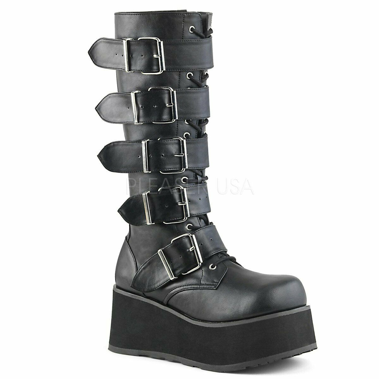 1b3173314cd36 Demonia Cyber Gothic Buckles Black Punk Knee High Platforms Boots Trashville -518