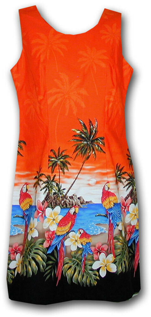 eddbba7a Pacific Legend Tropical Parrots Beach Floral Orange Hawaiian Sundress  360-3468