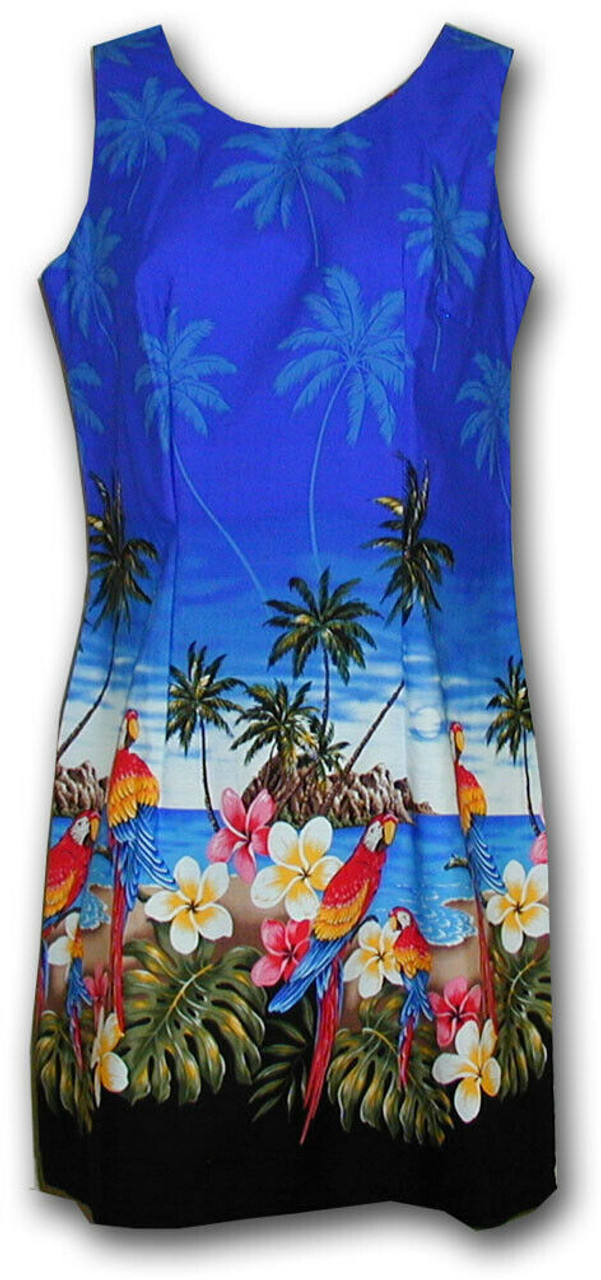 82c75619 Pacific Legend Tropical Parrots Beach Floral Blue Hawaiian Sundress 360-3468