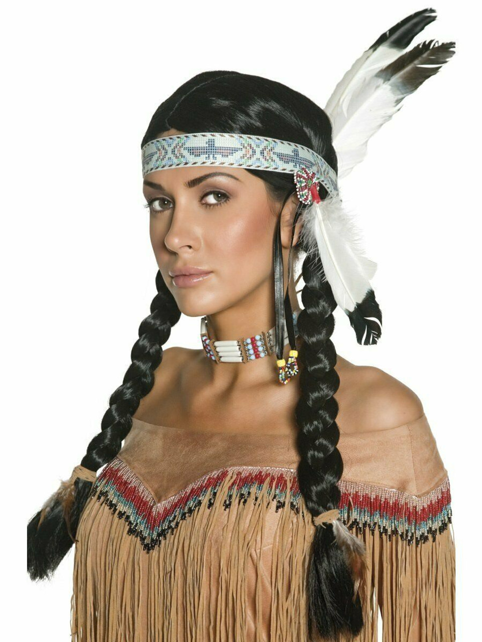 2351cad0076 Smiffys Native American Indian Braided Wig Halloween Costume Accessory 42042