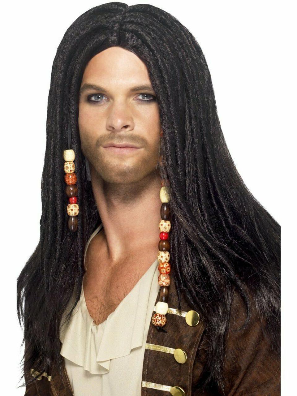 Smiffys Pirate Dreadlocks Beads Wig Adult Halloween Costume Accessory 43286